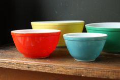 old fashioned pyrex mixing bowls. I still have the yellow one.
