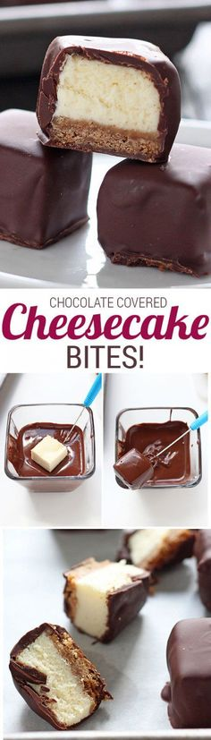 Chocolate Covered Cheesecake Bites are the ultimate party food – nothing can beat this rich and flavorful bite-sized dessert. Be warned: these won't last! - These are TO DIE FOR! They go fast everytime! Cheesecake Bites, Cheesecake Recipes, Dessert Recipes, Cheesecake Squares, Cheesecake Strawberries, Dessert Ideas, Yummy Treats, Sweet Treats, Yummy Food