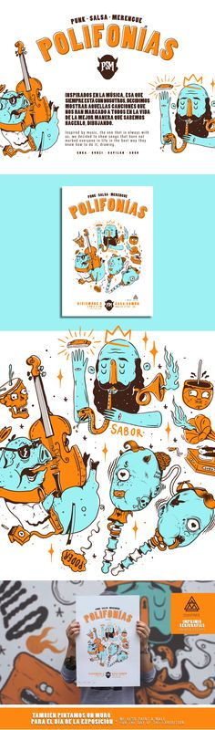 Polifonías x PSM on Behance Behance, Snoopy, Gallery, Artist, Posters, Illustrations, Check, Design, Color