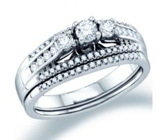 Three Stone Diamond Engagement Ring Wedding Set 14k White Gold (1/2ct) #Diamond #wedding #Bridal #Ring #fashion #Jewelry #White jeweltie.com