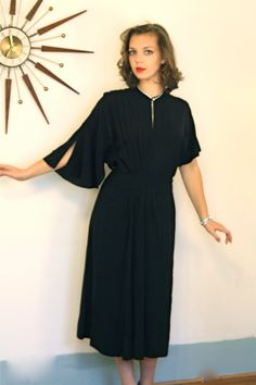 Beautiful vintage 1940s Black asymmetrical dress! It is such an exquisite period piece! Amazing Art Deco pleating and draping! It is an elegant
