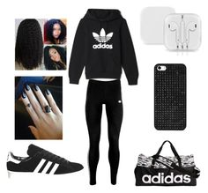 """the adias outfit"" by bostickkiara on Polyvore featuring adidas, adidas Originals and BaubleBar"