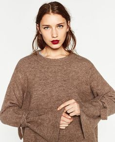 SWEATER WITH TIE DETAIL ON SLEEVE-NEW IN-WOMAN   ZARA United States