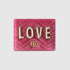 35c3aaff9d5 GG Marmont embroidered velvet wallet Gg Marmont