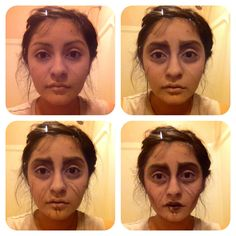 Edward Scissorhands makeup progression. Urban Decay's naked palette, and ben nye's liquid latex for scars.
