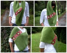 Women Poncho with Afghan Motifs in Green Hand от bysweetmom