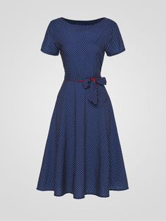 [App Clearance] Polka Dot Bowknot Exquisite Round Neck Skater Dress, I found a nice item on Fashionmia, open to see it.