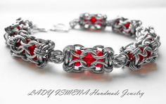 DSCN2103 Chainmaille Bracelet, Ruby Bracelet, Bracelets, Jump Ring Jewelry, Wire Jewelry, Jewelery, Beaded Jewelry, Diy Jewelry Making, Ruby Beads