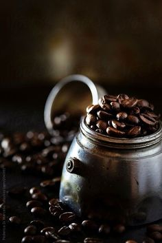Coffee Beans by Federica Di Marcello, Coffee, koffie, coffee corners, eten en drinken Coffee Is Life, I Love Coffee, Coffee Art, Coffee Break, Best Coffee, My Coffee, Coffee Drinks, Coffee Shop, Coffee Cups