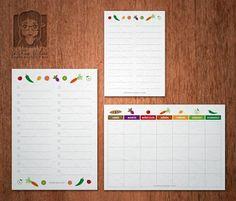 Descarga gratis diseños de lista de la compra y menú semanal formato PDF vector con iconos de frutas y verduras, tamaño A5 y A6.