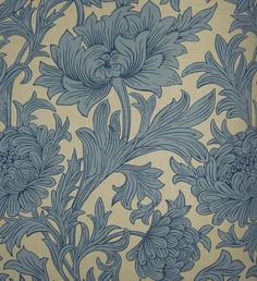 Chrysanthemum Toile Linen Fabric Floral printed linen in blue on stone, the design is taken from a rare William Morris wallpaper