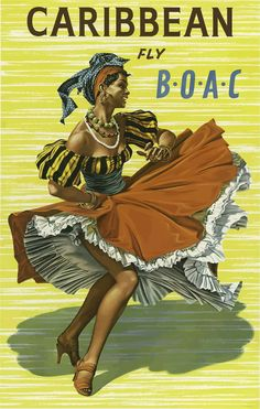 Jamaica - British Overseas Airline Corporation Jet BOAC - Native Dancer in Traditional Bandana Skirt - Vintage Airline Travel Poster by Hayes - Fine Art Print - x 1950s Posters, Vintage Travel Posters, Vintage Ads, Clipart Vintage, Vintage Graphic, Vintage Decor, Poster A3, Retro Poster, Poster Prints