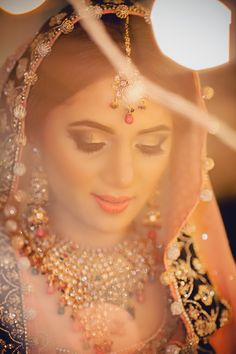 Indian bride wearing bridal jewellery and makeup