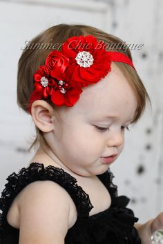 Red Baby Headband Infant Headband Newborn by SummerChicBoutique