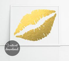 Printable gold lips faux foil print cool wall art by PrintsOfHeart, £3.00
