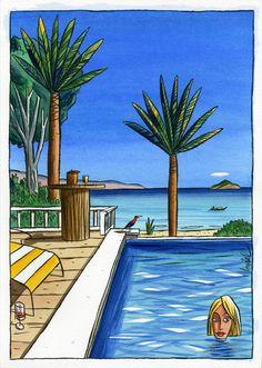 Art Et Illustration, Illustrations, Rock N Folk, Palm Trees Beach, Ligne Claire, Postmodernism, Black Art, Comic Strips, Caricature