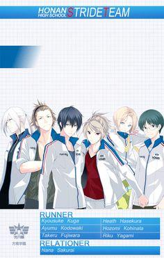 Honan Stride Team - Kyousuke Kuga, Hasekura Heath, Fujiwara Takeru, Yagami Riku, Kohinata Hozumi and Kadowaki Ayumu Prince of Stride: Alternative