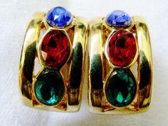 Gold Tone Metal Red Green Blue Crystal Oval Cut Hoop Clip on Earrings | eBay