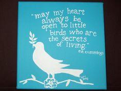 little bird ee cummings quote handpainted on canvas