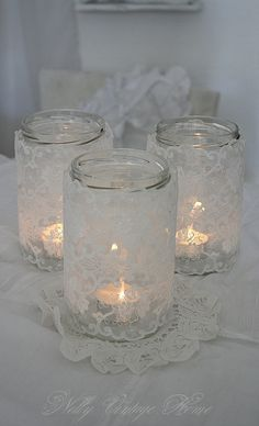 nelly vintage home: lace covered jars <3<3