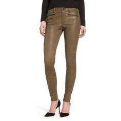 Women's Ag The Farrah High Waist Skinny Leather Pants ($1,045) ❤ liked on Polyvore featuring pants, dried seaweed, high-waisted leather pants, high waisted leather pants, leather pants, real leather pants and brown pants