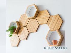 Recycled Chopsticks Are Turned Into These Honeycomb Shelves And Wall Tiles Wall Decor Set, Diy Wall, Room Decor, Wall Décor, Home Interior Design, Interior Decorating, Wall Design, House Design, Bamboo Shelf