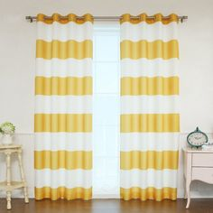 Best Home Fashion Rugby Stripe Room Darkening Curtain Pair Mustard - OXFORD_HSTRIPE-84-MUSTARD