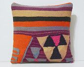 kilim pillow orange cushion cover 16x16 DECOLIC embroidered pillow bright cushion cover pink dining chair cushion 15751 kilim pillow 40x40