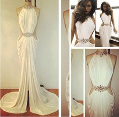 Michael Costello White Long Chiffon Prom Dresses Halter Crystals Backless  Evening Dress Mermaid Formal Women s Party Gowns from olesa wedding shop 20482369631f