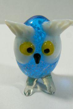 "Art Glass Hand Made 2"" Owl Figurine Blue White Cute Free shipping"