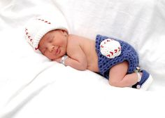 Baby Boy Baseball Beanie, Diaper cover and Booties Sizes Newborn or 0-3 Months Photo Prop. $55.00, via Etsy.