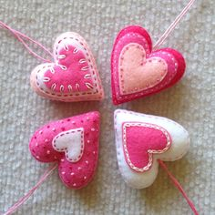 Felt heart ornament set in pink and white by Lucismiles on Etsy, $13.00