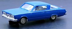 """1960s STROMBECKER 6"""" PLYMOUTH BARRACUDA 1/32 SCALE SLOT CAR BLUE EXC. RUNS GREAT #Strombecker"""