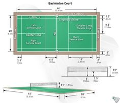 Badminton court dimension diagrams size measurements for Sport court dimensions