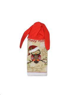 Kitchen Hand Towel Owl Towel Christmas Decor  Tie by SuesAkornShop