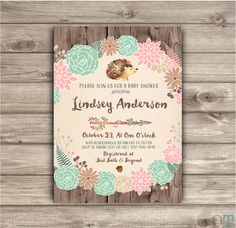 Fall Autumn Baby Baby Shower Girl Rustic Boho Arrow Teal Pink Fall Invitations Woodland Hedgehog Forest Leaves Burlap Rustic Fall Country