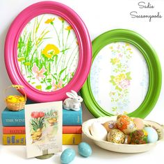 Oval frame Easter eggs, by Sadie Seasongoods, featured on Funky Junk Interiors