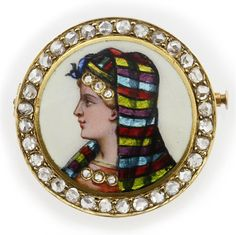 Victorian Egyptian Revival brooch, enameled lady's head, 18ct. gold, rose diamonds, c. 1860