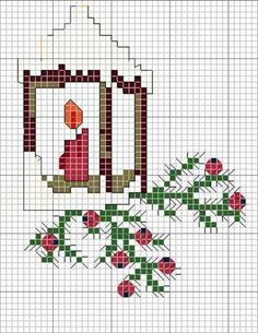 Lantern chart. Quick and easy cross stitch which will just take an evening to finish!