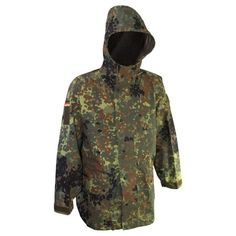 German Flecktarn Goretex Parka - German Flecktarn Parka German Army Flecktarn Parka with hood. This influential camo style parka has 6 roomy pockets include 2 flapped cargos, 2 zippered slash, 1 bellowed right shoulder pocket and a single interior pocket. Is made up of 65%/35% cotton / polyester fabric and was made in Germany.
