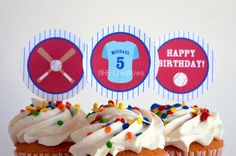Personalized Baseball Birthday Cupcake Toppers  by NHACreatives, $6.50