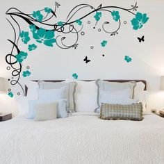 Black Teal Large Butterfly Vine Flower Vinyl Removable Wall Stickers Tree Wall Art Decals Mural for Living room Bedroom Home Decor Butterfly Wall Decals, Wall Decor Stickers, Butterfly Wall Stickers, Bedroom Wall Stickers, Contemporary Wall Stickers, Flower Mural, Removable Wall Stickers, Vine Wall, Tree Wall Art