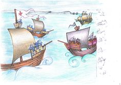 Panel 2. Coloured Illustration Designs for Minehead Harbour Project, depicting the rich and varied history of Minehead Harbour, Somerset, UK