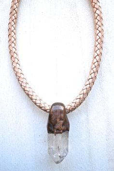 Quartz Bolo Leather Necklace