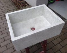UB1 pequeño fregadero concreto blanco
