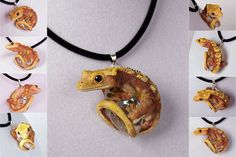This is amazing! I love the way the gecko holds the crystal like he is trying to climb on it. The colours are nice also. This one is made by IllusionTree. Animal Jewelry, Clay Crafts, Biscuit, Crested Gecko Habitat, Crested Gecko Care, Geckos, Reptile Room, Lizards, Snakes