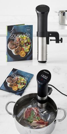 Sous vide is taking off with home chefs as a whole new way to cook – and the newly updated Anova Precision Cooker makes it faster and easier than ever. Designed to work with any pot in the kitchen, the cooker heats and circulates water, cooking food evenly to a precise internal temperature for restaurant-quality results every time. Set includes Anova Precision Cooker with Williams Sonoma Test Kitchen Sous Vide Cookbook. (You can learn all about Sous Vide Cooking on the AnovaCulinary website).