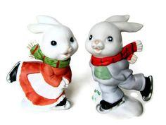 Homco Ice Skating Figurine  Skating Bunnies  Hand Painted Rabbit  Vintage Shadowbox
