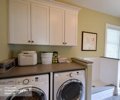 Enjoy the convenience of having organization at the tip of your fingers with these white laundry room wall cabinets in our Brellin door style, along with a pet-bathing station. You'll love the multi-functional space - and your furry friend will, too!