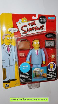 simpsons LIONEL HUTZ playmates world of springfield action figures toys moc mip mib